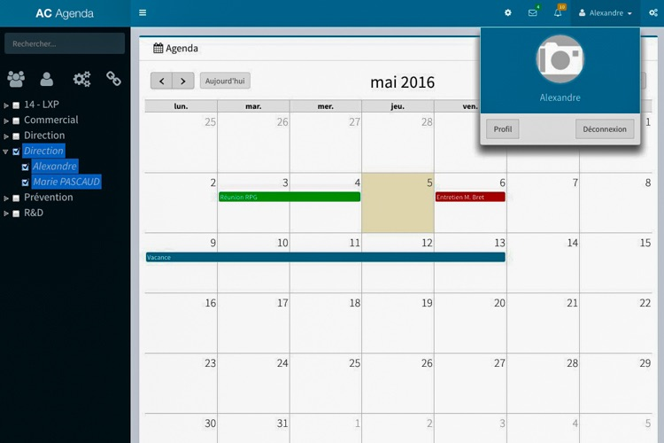 Application web | Calendrier et gestion du personnel